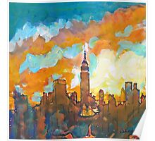 New York City Sunset Empire State Building Poster