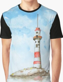 Lighthouse and cloudy sky Graphic T-Shirt