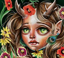 Wild Flower :: Pop Surrealism Little Scamp by Kristin Frenzel
