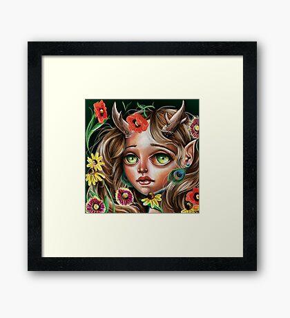 Wild Flower :: Pop Surrealism Little Scamp Framed Print