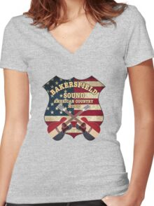 Bakersfield Country Music California   Women's Fitted V-Neck T-Shirt
