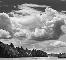 Black And White Storm Clouds Cobbossee Lake Maine by KWJphotoart