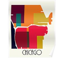 chicago modern map  Poster