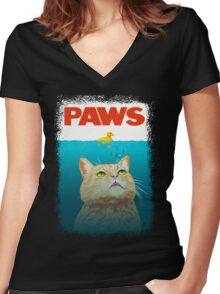 Paws! Women's Fitted V-Neck T-Shirt