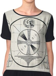 Retro TV Monoscope Test Pattern Chiffon Top