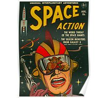 Space Action - Classic Comic Cover Poster