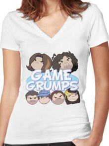 Game Grumps Logo & Grump Heads Women's Fitted V-Neck T-Shirt