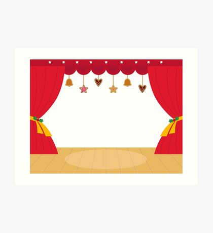 Decorated Theatre red background / beautiful and original  Art Print