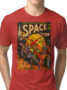 Space Action - Classic Comic Cover - 2 Tri-blend T-Shirt