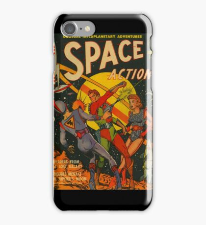 Space Action - Classic Comic Cover - 2 iPhone Case/Skin