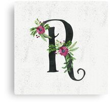 Letter R with Floral Wreaths Canvas Print