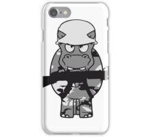 krieg soldat töten waffe gewehr armee army schießen dick lustig comic cartoon kleines süßes niedliches baby kind nilpferd glücklich  iPhone Case/Skin