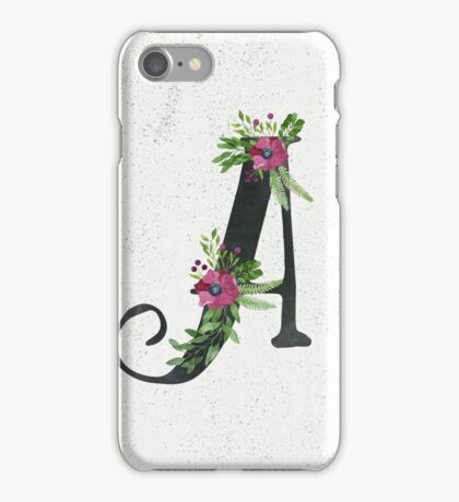 Letter A with Floral Wreath iPhone Case/Skin