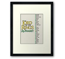Lord of the Rings Alphabet Framed Print