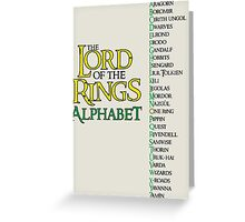 Lord of the Rings Alphabet Greeting Card