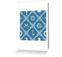 Nautical rope knot pattern with sea objects Greeting Card