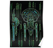 USS Enterprise Wireframe Poster