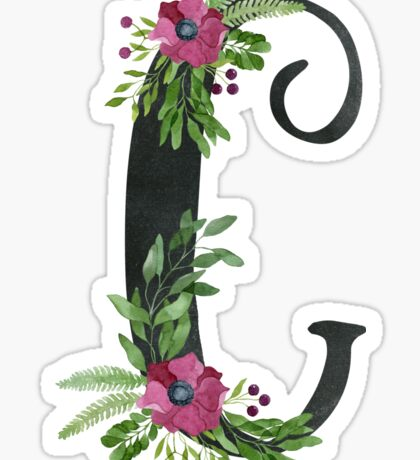 Monogram C with Floral Wreath Sticker