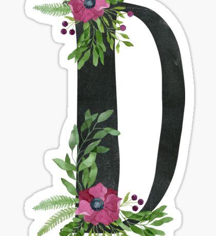 Monogram D with Floral Wreath Sticker