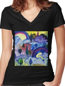 Dreamland - Landscape with Rainbows Women's Fitted V-Neck T-Shirt