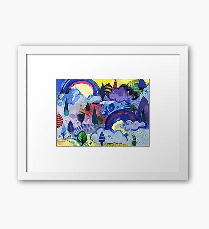 Dreamland - Landscape with Rainbows Framed Print