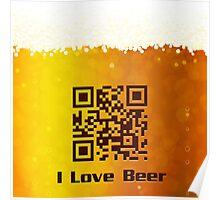 I Love Beer background Poster