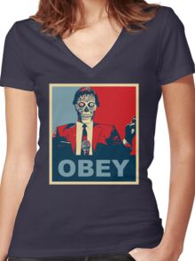They Live - Obey Women's Fitted V-Neck T-Shirt