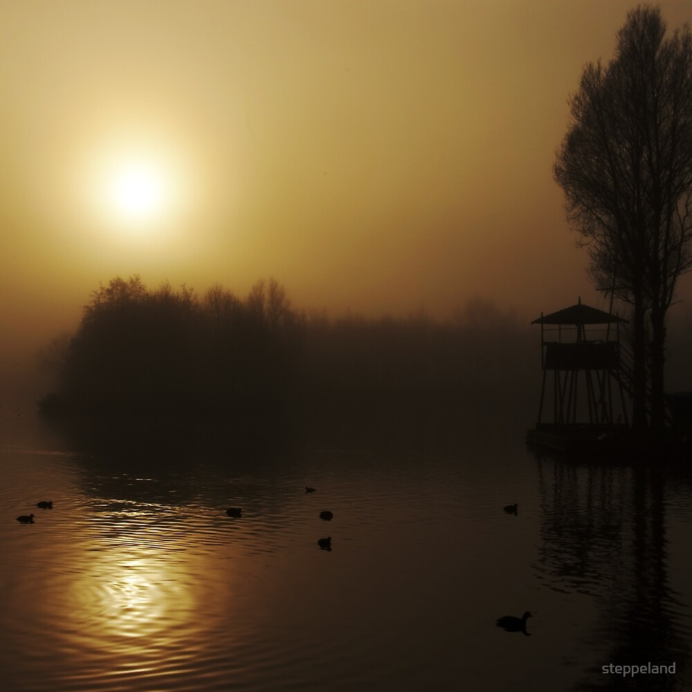 Misty Golden Morning at the Lake 2 by steppeland
