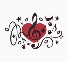 MUSIC HEART, Music Notes, Clef, Bass Clef, Violin Clef, Sound Kids Clothes