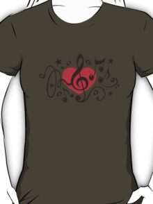 MUSIC HEART, Music Notes, Clef, Bass Clef, Violin Clef, Sound T-Shirt