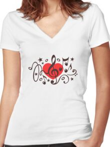MUSIC HEART, Music Notes, Clef, Bass Clef, Violin Clef, Sound Women's Fitted V-Neck T-Shirt