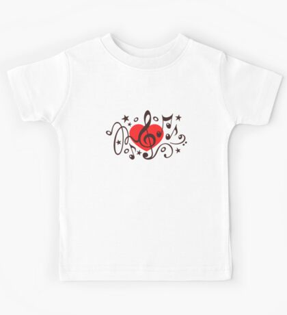 MUSIC HEART, Music Notes, Clef, Bass Clef, Violin Clef, Sound Kids Tee