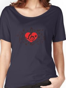MUSIC HEART, Music Notes, Clef, Bass Clef, Violin Clef, Sound Women's Relaxed Fit T-Shirt