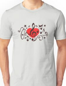 MUSIC HEART, Music Notes, Clef, Bass Clef, Violin Clef, Sound Unisex T-Shirt