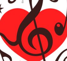 MUSIC HEART, Music Notes, Clef, Bass Clef, Violin Clef, Sound Sticker