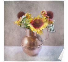Sunny Flowers in a Copper Pitcher Poster