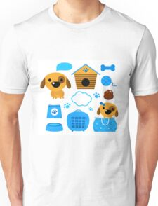 Cute nice Dogs for little Kids : blue design Edition Unisex T-Shirt