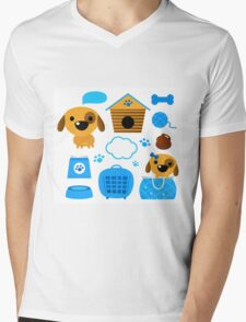 Cute nice Dogs for little Kids : blue design Edition Mens V-Neck T-Shirt
