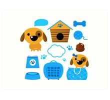 Cute nice Dogs for little Kids : blue design Edition Art Print
