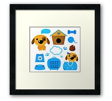 Cute nice Dogs for little Kids : blue design Edition Framed Print