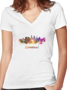 Cleveland skyline in watercolor Women's Fitted V-Neck T-Shirt