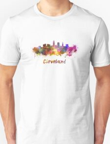 Cleveland skyline in watercolor Unisex T-Shirt