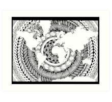 World Oceans Mandala - Black & White Art Print