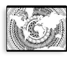 World Oceans Mandala - Black & White Canvas Print