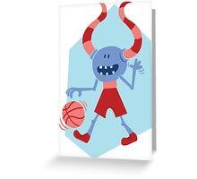 Funny Monster with Ball Greeting Card