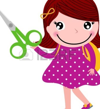 Cute happy child with shears - for little school girls Sticker