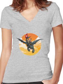 Toothless Targaryen Orange Women's Fitted V-Neck T-Shirt