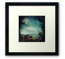 halloween,pumpkins,bats,crows,desolate forest,dark and gloomy Framed Print