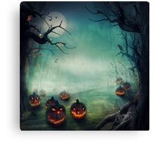 halloween,pumpkins,bats,crows,desolate forest,dark and gloomy Canvas Print