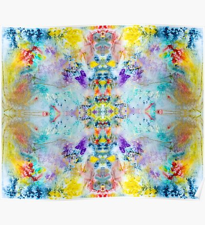 Eye catching vibrant colorful abstract symmetrical ink design pattern Poster